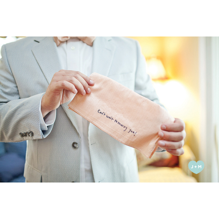 Embroidered Sentiment in Bride's Handwriting